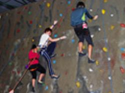 Students tackle the climbing wall at the Arthog Outreach Centre. More photographs are at the end of the release.