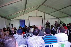 A packed marquee for the talk by Jeff Lester