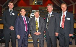 L-R The delegates are Paul Horton, Steven Corfield, Ralph Early, Dr Barrie Florey and Niall Blackie.