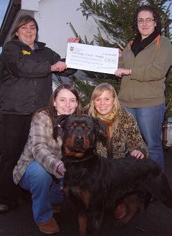 The students with Roden Dogs Trust Manager Louise Campbell and Behr, a young Rottweiler in need of a new home
