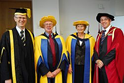 L-R Principal of Harper Adams, Dr David Lewellyn with Professor Ian Crute, an Honorary Doctor of Science, Baroness Hazel Byford, Honorary Doctor and Vice Principal at Harper Adams, Professor Peter Mills.