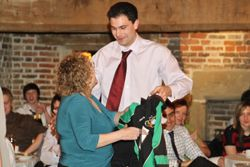 Andrew Helen presents a Harper Ireland shirt to Jan Fordham