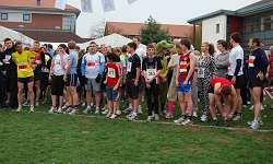 The runners line up ready to start the race