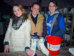Rebecca Withers and Kerry-Anna Smith from the group who came up with ice skating event, are joined by fellow student Emily Hayman (centre), who was helping out on the day