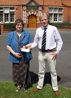 Pam Millard, Chairman of Lilleshall Memorial Hall, with Chris Manley, president of Harper Adams University College Student Union 2009-10.