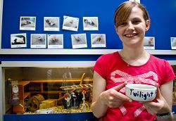 Louise is pictured with a Twilight food bowl in front of the mice cages with photographs of some of the 'Twilight' mice.