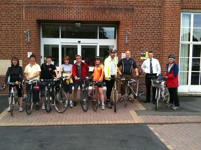 The staff that cycled to work this morning, with Catering Manager, David Nuttall.
