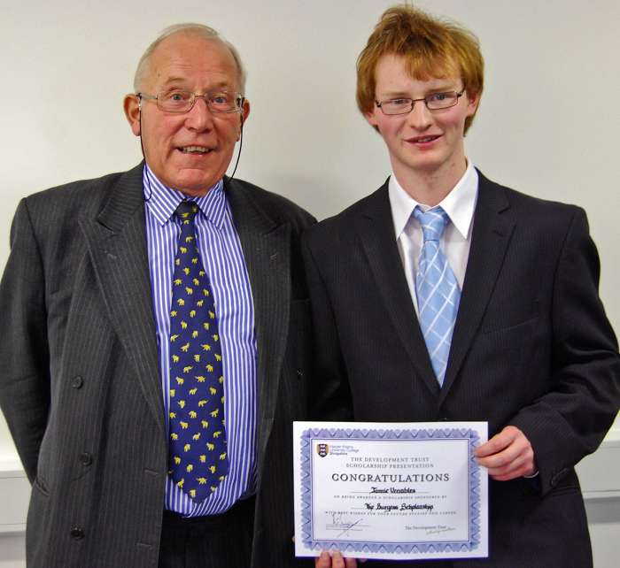 Anthony Burgess is pictured with MEng Agricultural Engineering student, Jamie Venables, with his Burgess Scholarship award