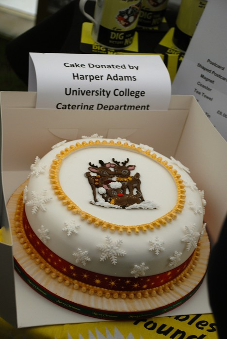 A cake donated by the Harper Adams Catering Dept. for the raffle