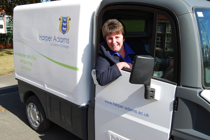 Margaret tests out the new van