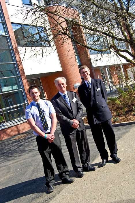 L-R Student Union President is pictured with Robin Faccenda and David Llewellyn outside the new Faccenda Centre