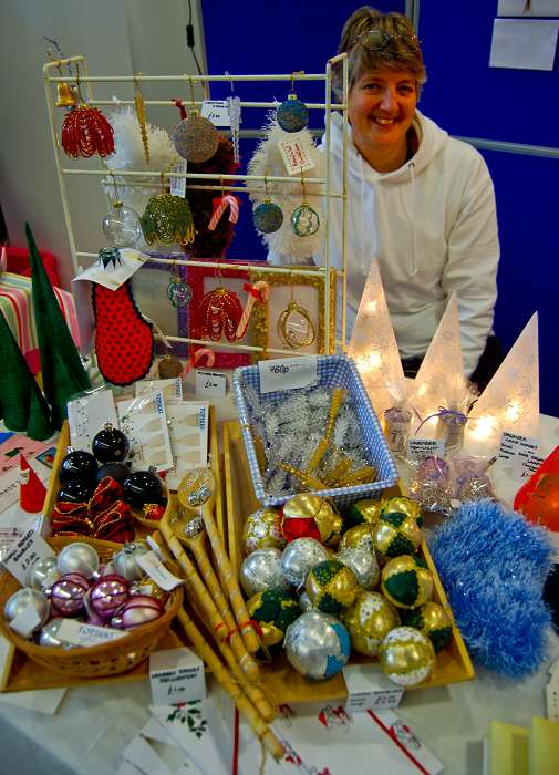 Gaynor Page from Topikki with some hand-made festive items