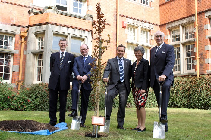 Honorary degree recipients join Principal Dr David Llewellyn and Chairman of Governors Alison Blackburn OBE to plant a tree to mark the University College's 110th anniversary