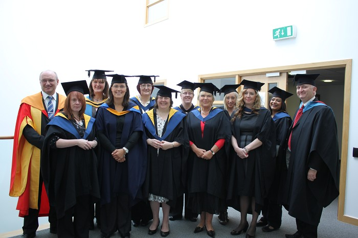 Students from SBC, Shrewsbury, who were awarded qualifications in leadership and management for the care sector