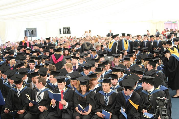 Graduands await the start of the ceremony