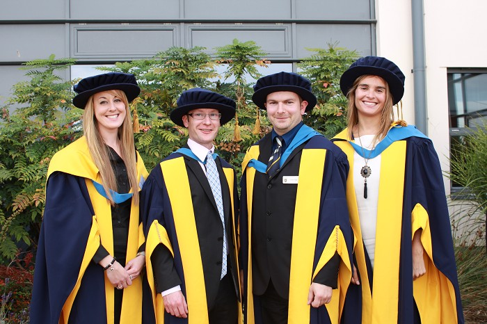 PHD Success: Dr Gemma Charlton, Dr Andrew Watson, Dr Ianto Guy and Dr Leticia Chico-Santamarta
