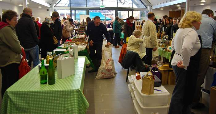Shoppers browse the stalls in the West Midlands Regional Food Academy