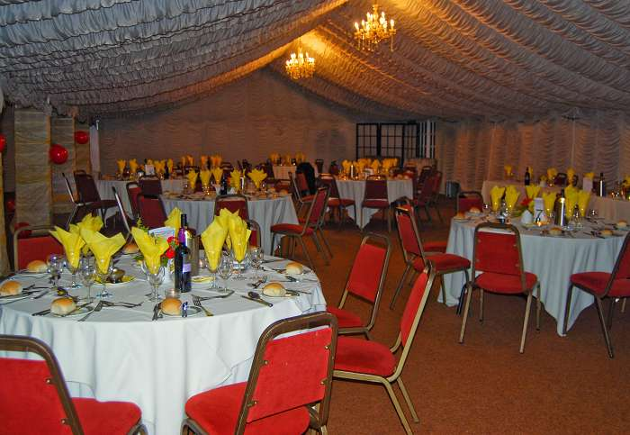 The marquee where the dinner was held at Tern Hill Hall Hotel, Market Drayton