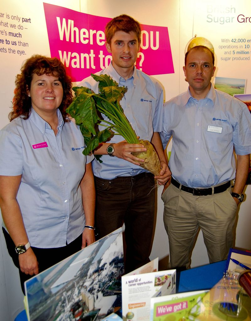 Chris Tagg, 20 (centre), is a BSc (Hons) Agriculture students at Harper Adams, on placement wth Bitish Sugar.