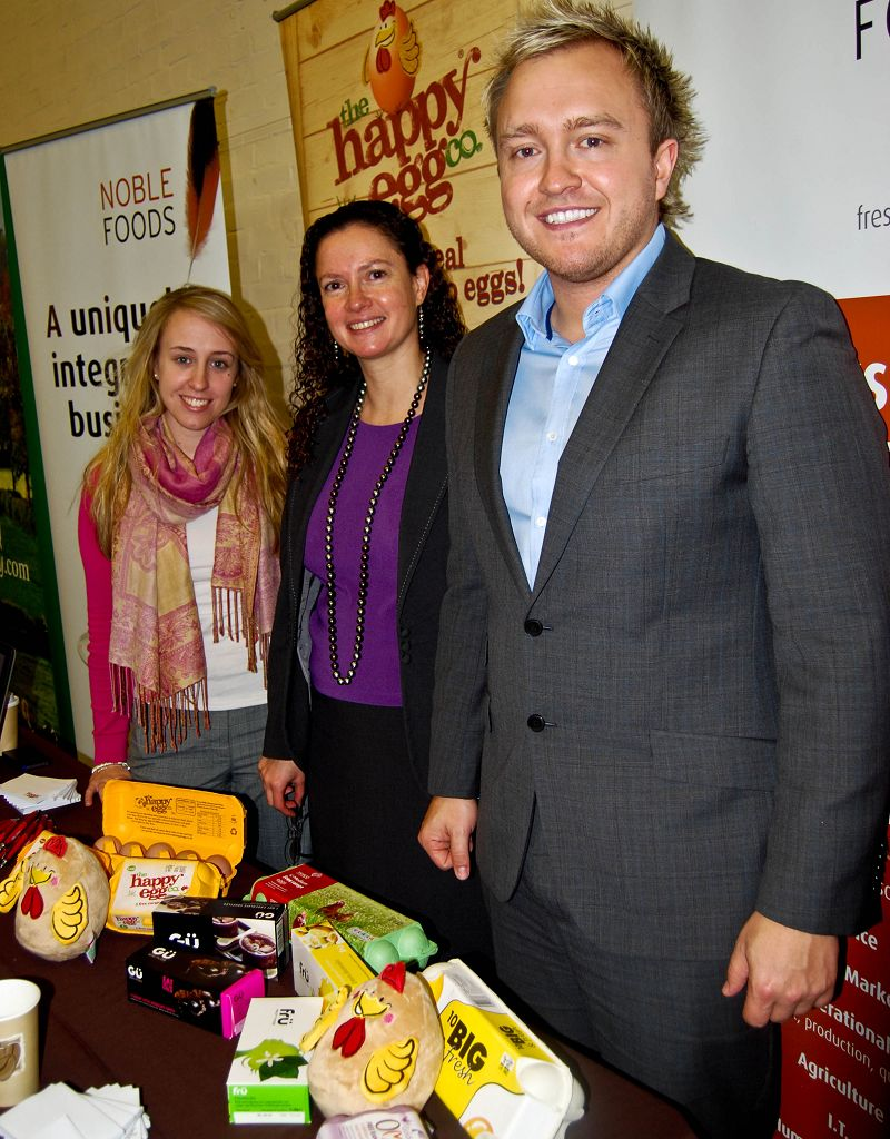 L-R Harper Adams placement student Charlotte Ward, 20, is pictured with Adriane Westwater and Adam King from Noble Foods.
