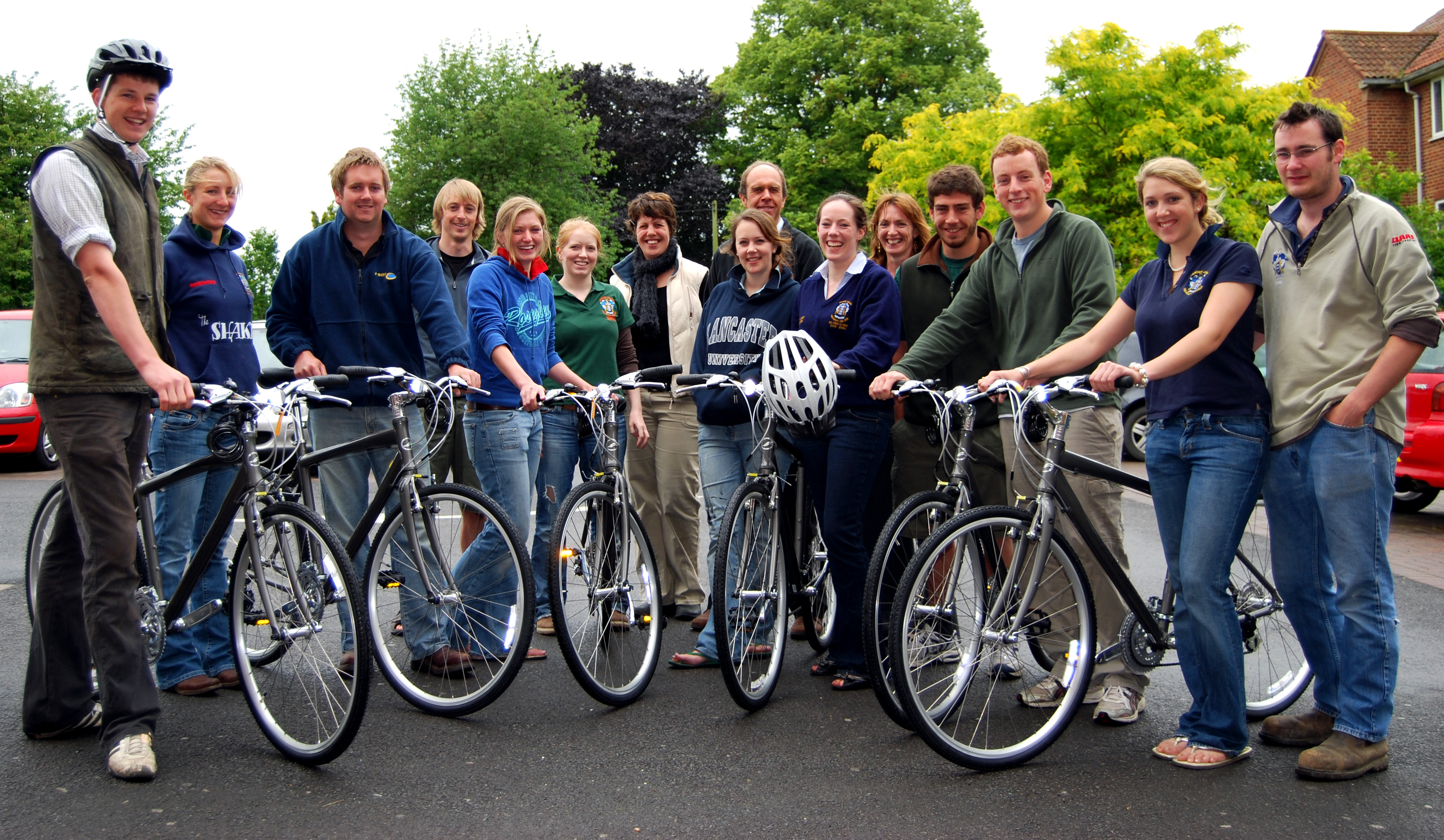 Staff and students with the new bikes