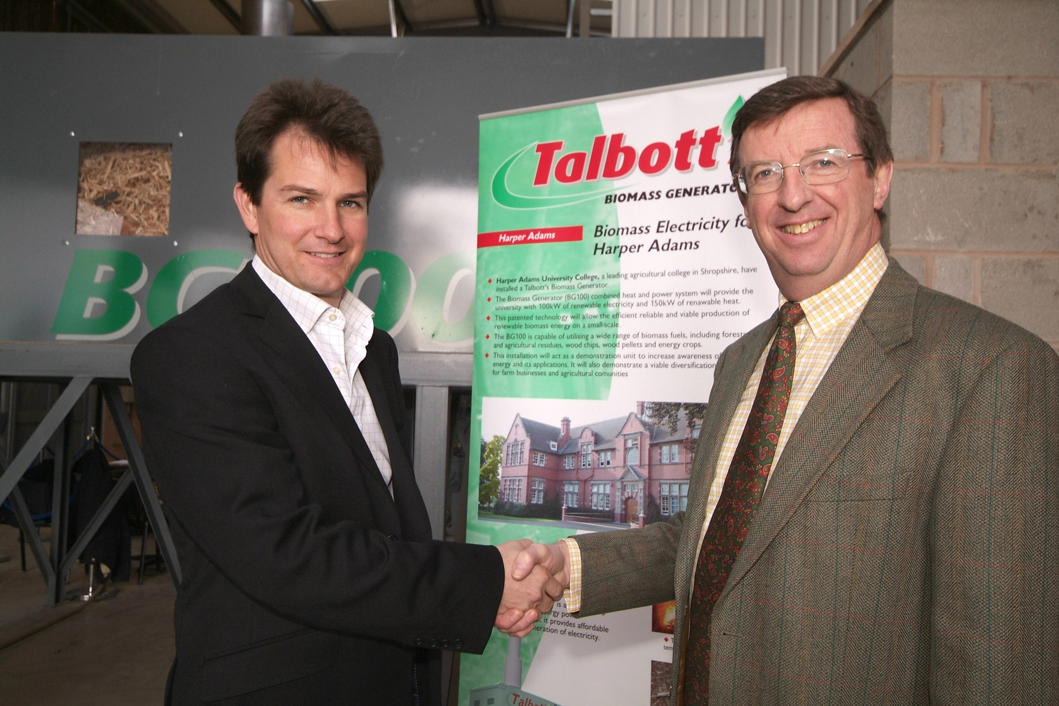 Chris Hughes, Sales Executive for Talbotts with Professor Wynne Jones, Principal at Harper Adams University College