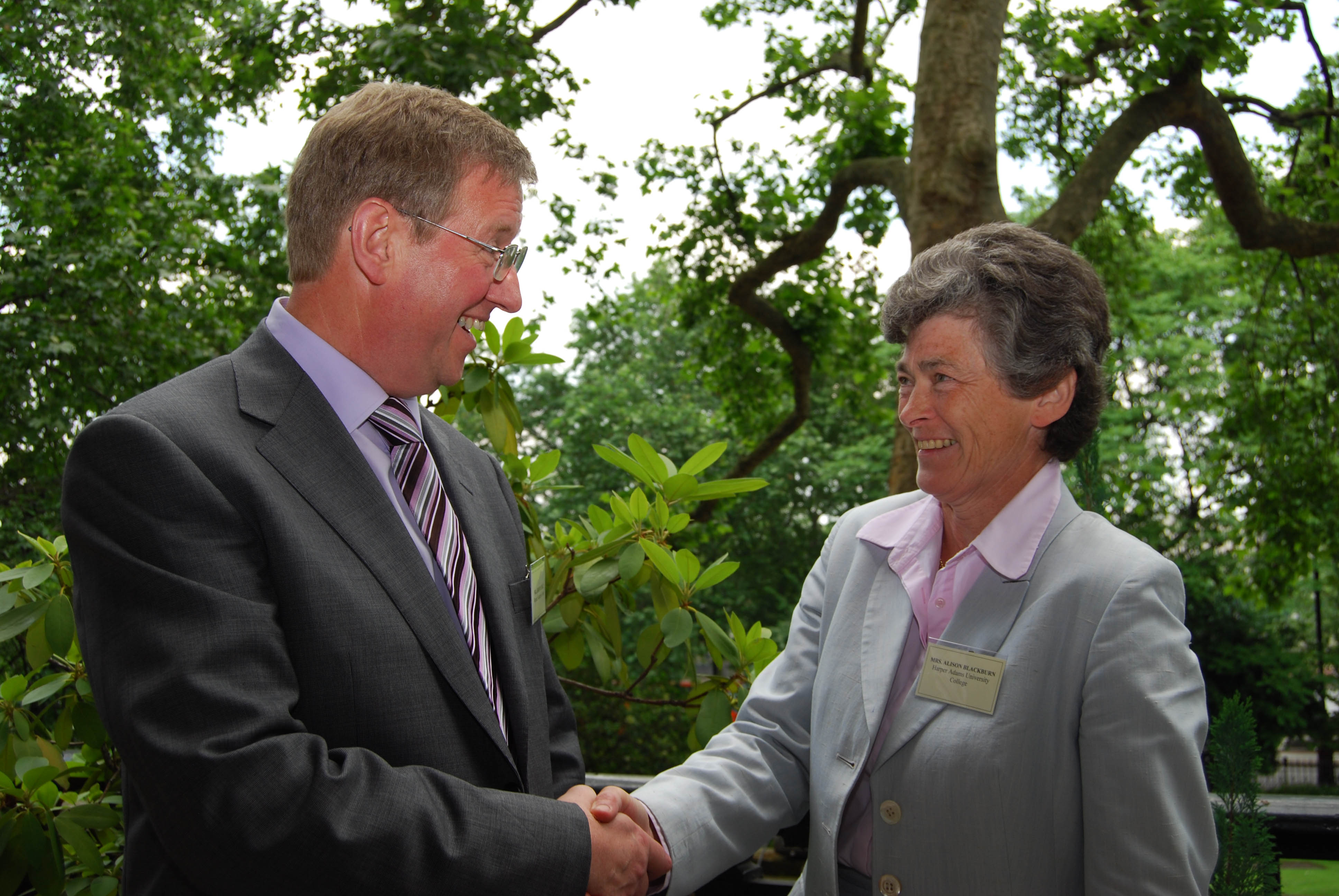 Harper Adams Chairman of Governors Alison Blackburn congratulates Jeremy Hall