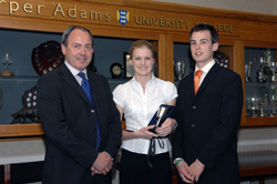 Award winning students Abigail and David with Course Lecturer Tony Asson