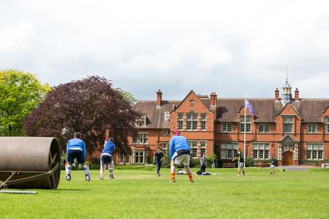 Cricket pitch outside the Main Building