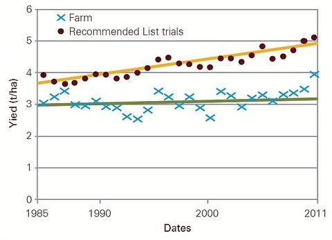 A comparison of on farm yields of OSR, compared to reccomended list trial yields. Demonstrating the differences between actual and potential yields. Source: HGCA-AHDB, 2012.